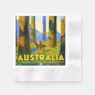 Vintage Australia Travel Poster Disposable Napkins