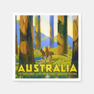 Vintage Australia Travel Poster Disposable Napkin