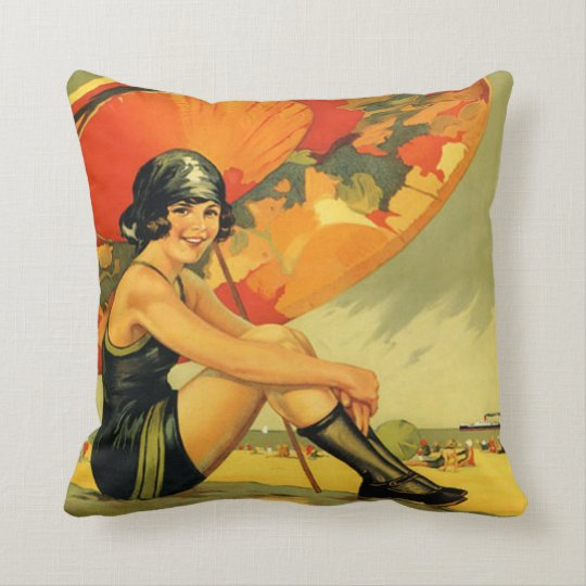 Vintage Australian Beach Poster Throw Pillow