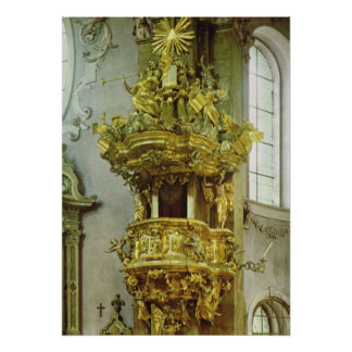 Vintage Austria, Innsbruck, púlpito rococó de oro Impresiones