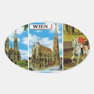 Vintage Austria, Wien, Viena, Multiview Calcomanías Ovales