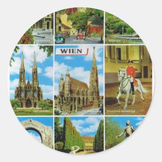Vintage Austria, Wien, Vienna, Multiview Classic Round Sticker