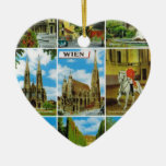Vintage Austria, Wien, Vienna, Multiview Double-Sided Heart Ceramic Christmas Ornament