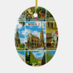 Vintage Austria, Wien, Vienna, Multiview Double-Sided Oval Ceramic Christmas Ornament