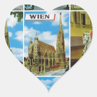 Vintage Austria, Wien, Vienna, Multiview Heart Sticker