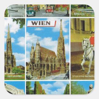 Vintage Austria, Wien, Vienna, Multiview Square Sticker