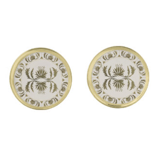 Vintage Austrian Gold Thistle Design Cuff links