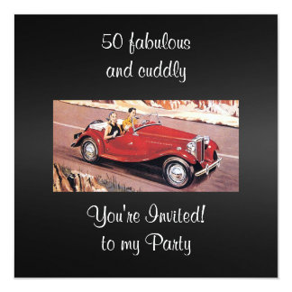 Vintage Auto 50 Fabulous and cuddly birthday Party Card