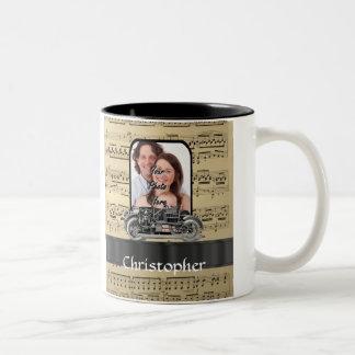 Vintage auto and music sheet Two-Tone coffee mug