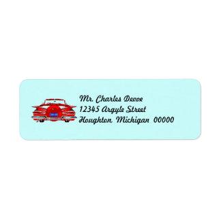 Vintage Auto Distinct Tailfin Return Address Label
