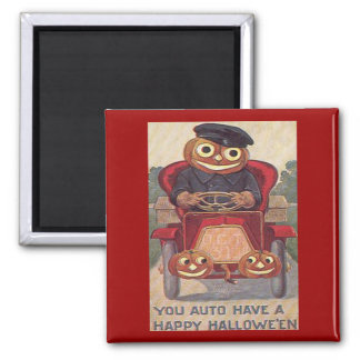 Vintage Auto Halloween 2 Inch Square Magnet