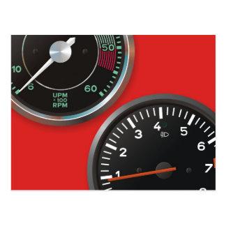 Vintage auto instruments / Classic car gauges Postcard