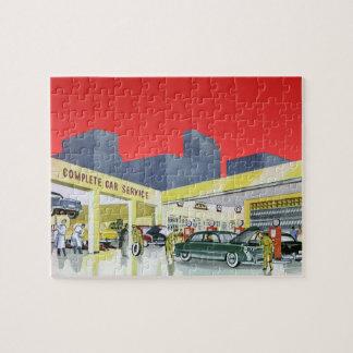 Vintage Auto Mechanics Complete Car Service Garage Jigsaw Puzzle