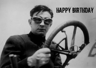 Vintage Auto Racing Guy Birthday Card