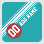 Vintage Auto Racing Stripes - Red and Teal Sticker