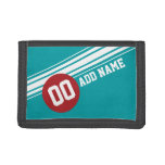Vintage Auto Racing Stripes - Red and Teal Wallet