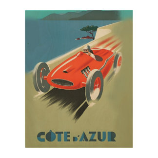 Vintage Auto Racing Wood Canvas