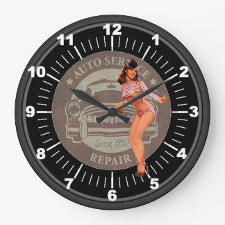 Vintage Auto Service Repair Pin-Up Large Clock