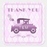 Vintage Auto Wedding Favor Orchid Square Sticker