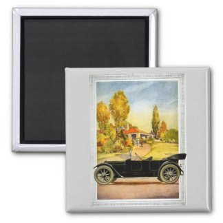 Vintage Automobile Advertising 2 Inch Square Magnet