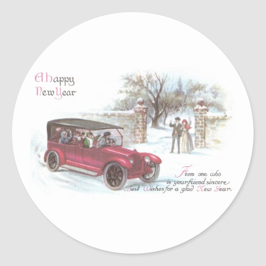 Vintage Automobile New Year Greeting Classic Round Sticker