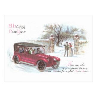 Vintage Automobile New Year Greeting Postcard