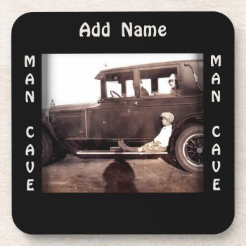 Vintage Automobile Photograph Man Cave Coaster