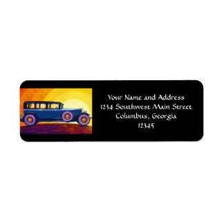 Vintage Automobile Rainbow Sunset Return Address Label