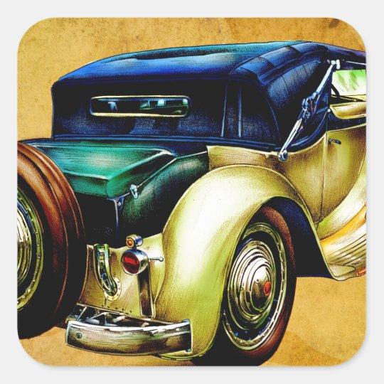 Vintage automobile retro fineart F054 Square Sticker