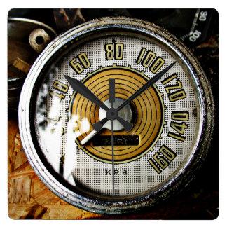 Vintage automobile speed gauge square wall clock