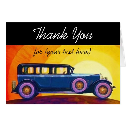Vintage Automobile Sunset Personalized Thank You Greeting Cards