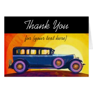 Vintage Automobile Sunset Personalized Thank You Stationery Note Card