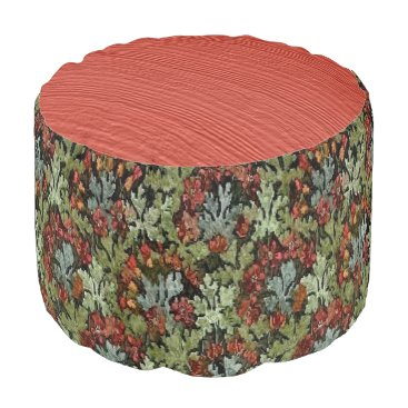 Beach Themed Vintage Autumn and Coral Wood Grain Pouf