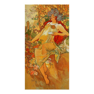 Vintage Autumn by Alphonse Mucha Poster