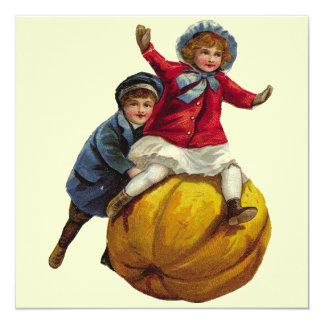 Vintage Autumn Fun with Pumpkin 5.25x5.25 Square Paper Invitation Card
