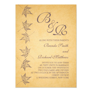 """VINTAGE AUTUMN LEAVES WEDDING INVITATION 5.5"""" X 7.5"""" INVITATION CARD"""
