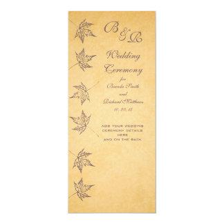 VINTAGE AUTUMN LEAVES WEDDING PROGRAM CUSTOM INVITATIONS