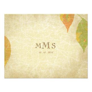 Vintage Autumn Leaves Wedding RSVP Custom Invites