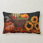 "Vintage Autumn Lumbar Pillow<br><div class=""desc"">Vintage Autumn with rustic sunflowers,  pumpkins,  jack o lanterns,  wood basket and autumn leaves in burnt orange and yellow. Celebrate the season. Perfect for Halloween or Thanksgiving. Easily personalize this with your name,  greetings or words/quotes/</div>"