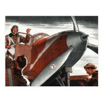Vintage Aviation Airplane Color Art Postcard
