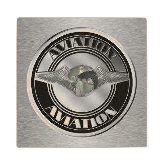 Vintage Aviation Art Wood Coaster