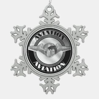 Vintage Aviation Art Snowflake Pewter Christmas Ornament