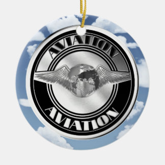 Vintage Aviation Art Double-Sided Ceramic Round Christmas Ornament