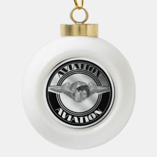 Vintage Aviation Art Ceramic Ball Christmas Ornament