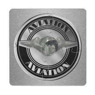 Vintage Aviation Art Puzzle Coaster