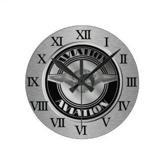 Vintage Aviation Art Round Clock