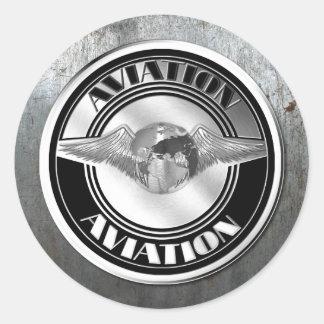 Vintage Aviation Art Round Sticker