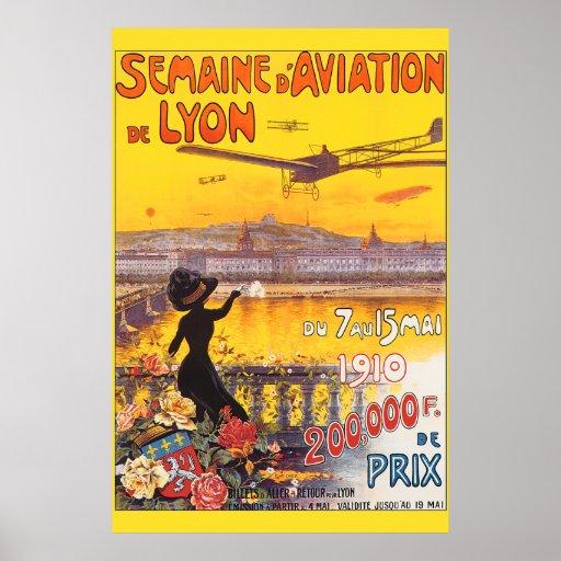 Vintage Aviation Week In Lyon France Poster