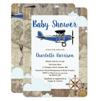 Vintage Aviator Airplane World Travel Baby Shower Card