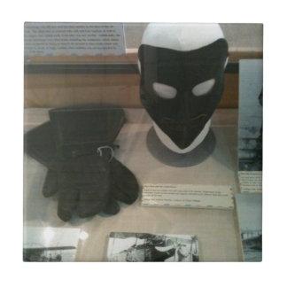 Vintage aviator mask, museum exhibit tiles